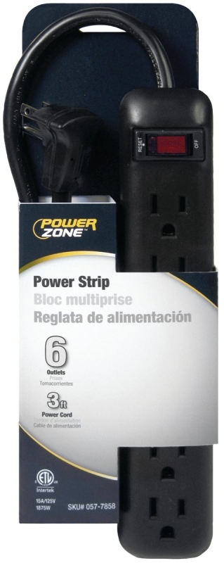 PowerZone OR801123 Power Outlet Strip, 6-Socket, 15 A, 3 ft L Cable - CBS BAHAMAS LTD