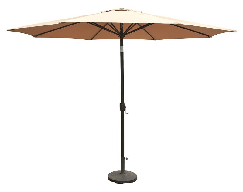 Seasonal Trends Deluxe Market Umbrella with Tilt & Crank, 11 ft Canopy, Taupe Polyester - CBS BAHAMAS LTD