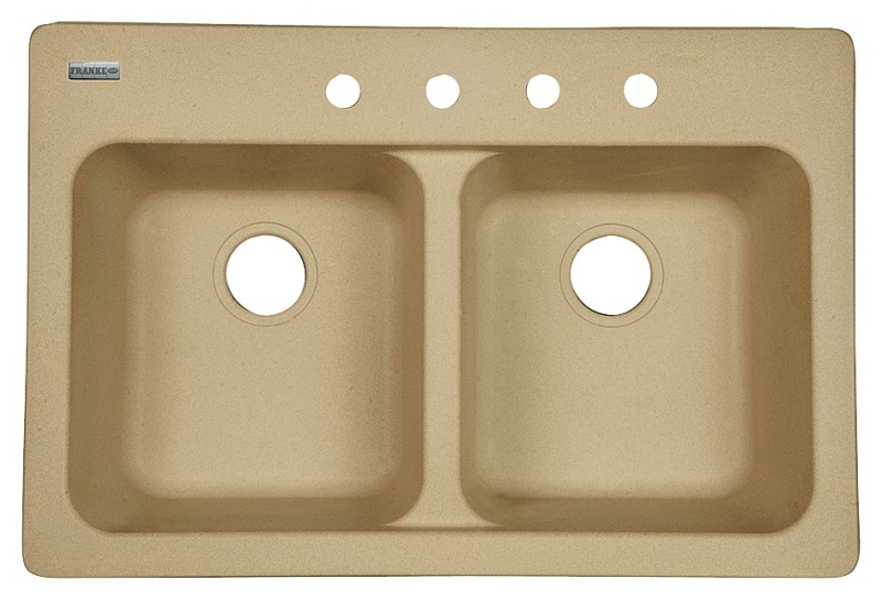 KINDRED FTS904BX Dual-Mount Double Bowl Sand Tectonite Kitchen Sink, 4-Hole, 33 in x 22 in x 9 in - CBS BAHAMAS LTD