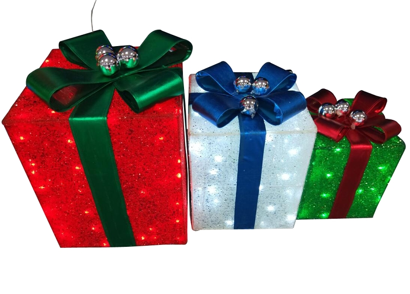 Santa's Forest 58414 Pre-Lit 3-Piece Christmas Gift Box Set, LED Lights - CBS BAHAMAS LTD