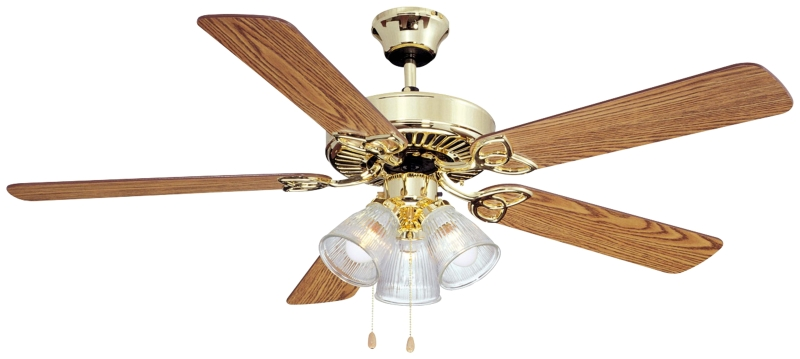 Boston Harbor Ceiling Fan, 52in, Polished Brass, Oak/Walnut, 5 Blades, 3 LED Light - CBS BAHAMAS LTD