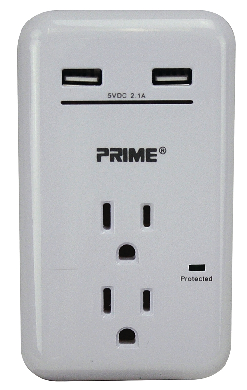 PowerZone ORUSB342S USB Charger With Surge Protection, 3.4 A, 450 J, 2 Outlets, 2 USB Ports, White - CBS BAHAMAS LTD