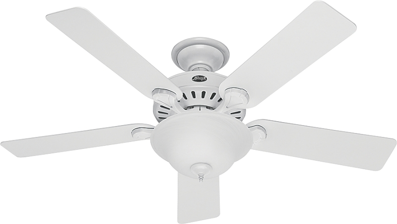 Hunter Pro's Best Ceiling Fan, 52in, White, White/Beech, 5 Blades, 2 Lights - CBS BAHAMAS LTD