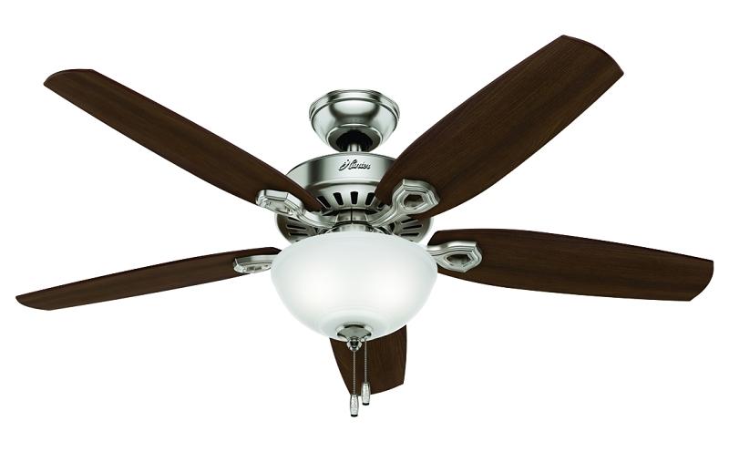 Hunter Builder Deluxe Ceiling Fan, 52in, Brushed Nickel, Brazilian Cherry/Oak, 5 Blades, 3 Lights - CBS BAHAMAS LTD