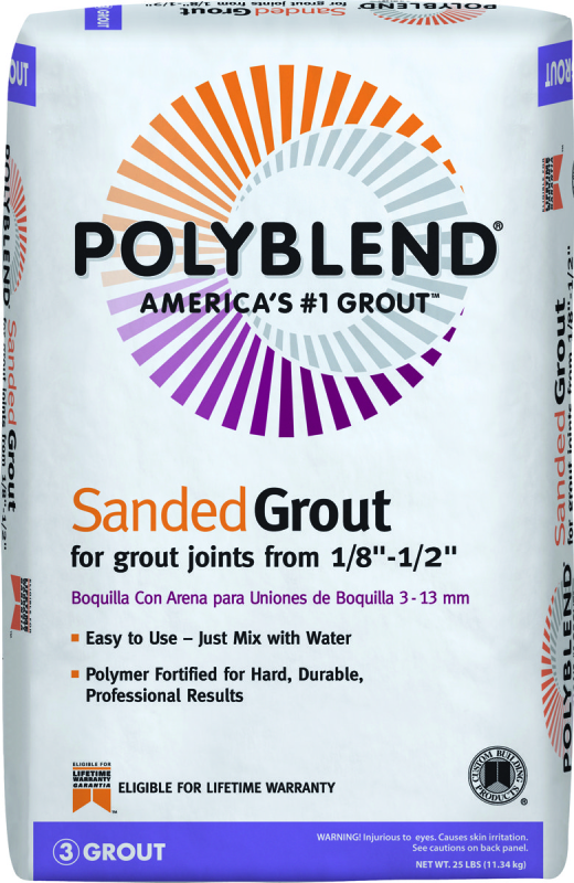 Custom PBG6025 Polyblend Sanded Tile Grout, Charcoal, 25 lb Bag - CBS BAHAMAS LTD