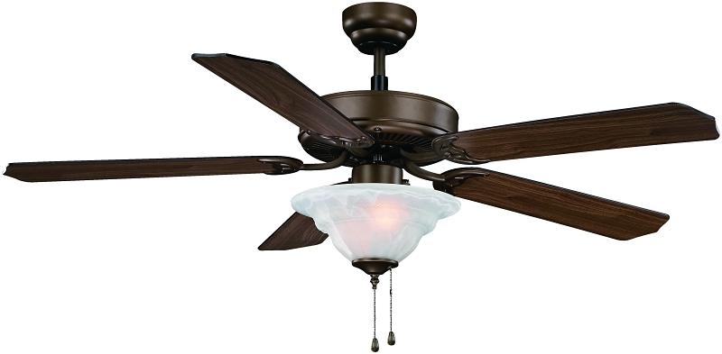 Boston Harbor Ceiling Fan, 52in, Venetian Bronze, Oak/Walnut, 5 Blades, 2 LED Light - CBS BAHAMAS LTD