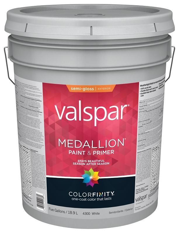 Valspar 4300 Medallion Exterior White Paint & Primer, Semi-Gloss, 5 Gal Pail - CBS BAHAMAS LTD