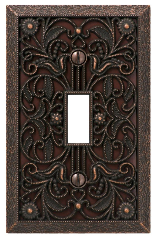 Amerelle Filigree 65TDB Wallplate, 1-Gang, Metal - CBS BAHAMAS LTD