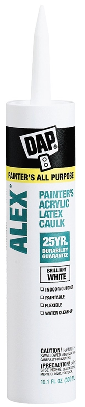 DAP 18670 ALEX Painter's Acrylic Latex Caulk, 25 Yr, White, 10.1 oz - CBS BAHAMAS LTD