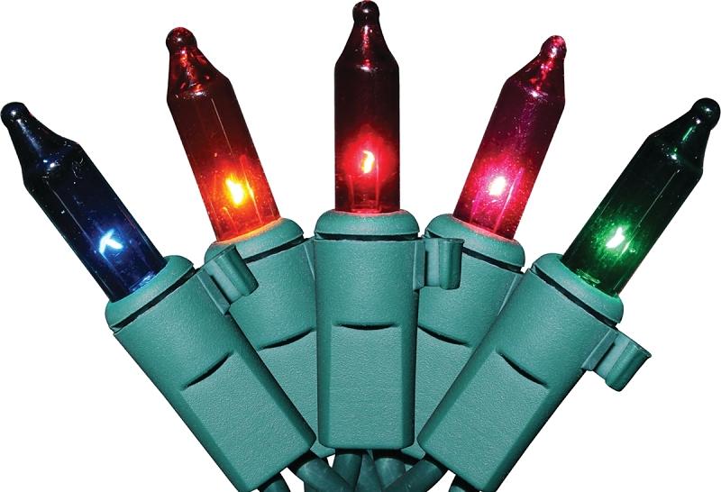 Sylvania Multi-Color Mini Light Set, Green Wire, 100 Lights - CBS BAHAMAS LTD