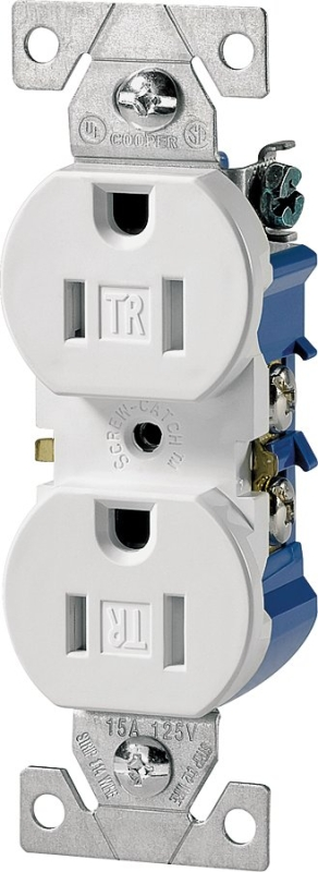 Eaton Wiring Devices TR270W Duplex Receptacle, 15 A, 2-Pole, 5-15R, White - CBS BAHAMAS LTD