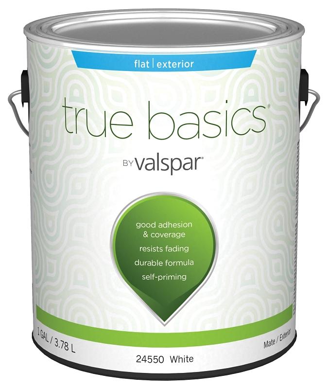 Valspar 24550 True Basics Self-Priming Exterior White Paint, Flat, 1 Gal Can - CBS BAHAMAS LTD
