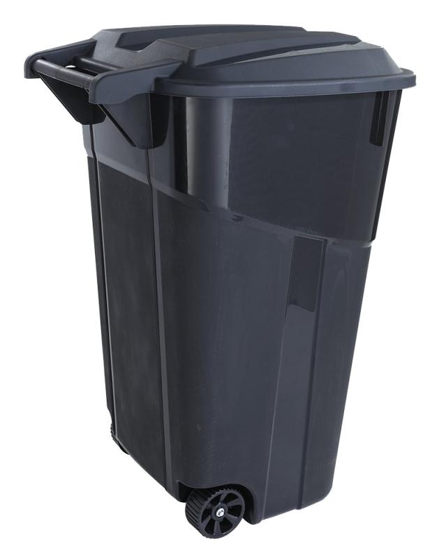 United Solutions TI0061 32 Gal Trash Can with Wheels & Hinged Lid, Black - CBS BAHAMAS LTD