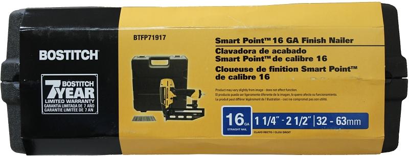 Main 2 - Bostitch BTFP71917 Smart Point 16-Gauge Straight Finish Nailer Kit - CBS BAHAMAS LTD