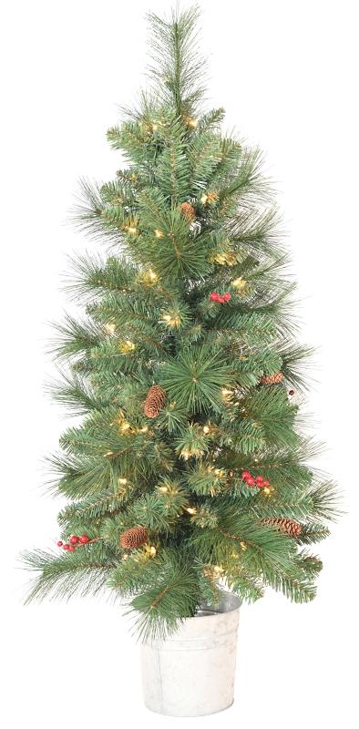 Santa's Forest 27540 Scots Pine w/ Berries Pre-Lit Artificial Christmas Tree, Clear Lights, 4 ft - CBS BAHAMAS LTD