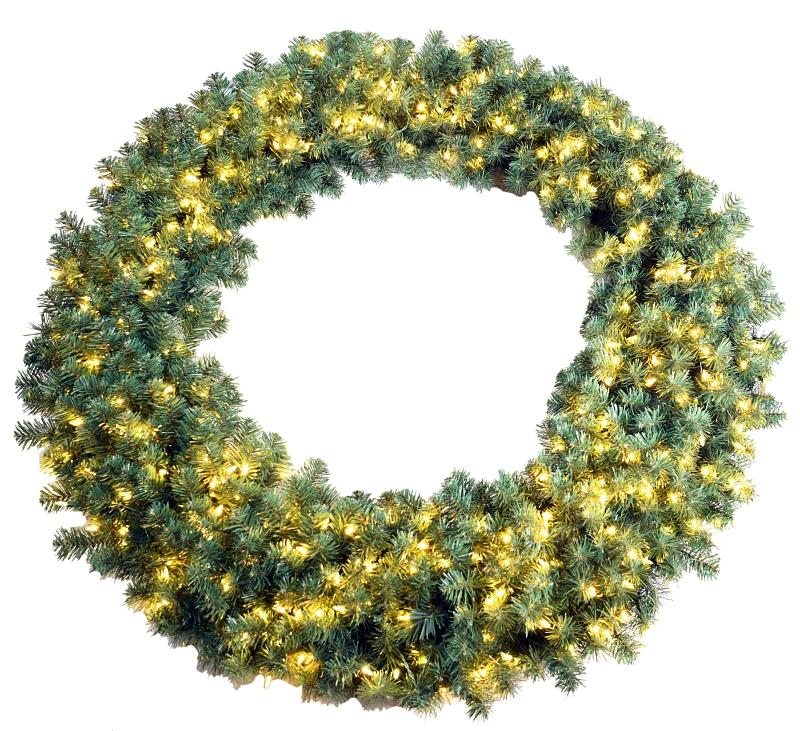Santa's Forest 61958 Pre-Lit Sheared Noble Wreath, Clear LED Lights, 28 in Dia - CBS BAHAMAS LTD