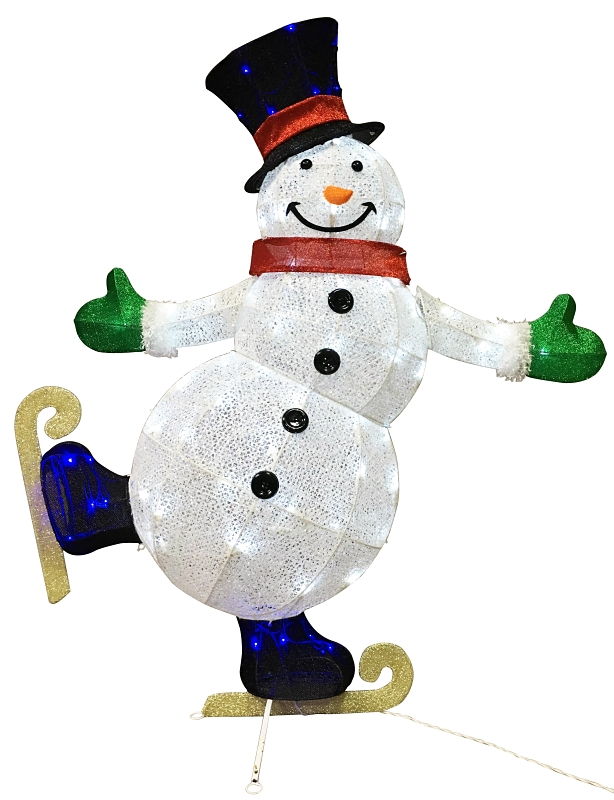 Santa's Forest 58505 Pre-Lit Wrapped 3-D Snowman, Clear LED Lights, 54 in H - CBS BAHAMAS LTD