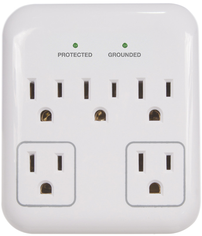 PowerZone OR802155 Tap Surge Protector, 15 A, 5-Outlet, 900 J, Grey/White - CBS BAHAMAS LTD