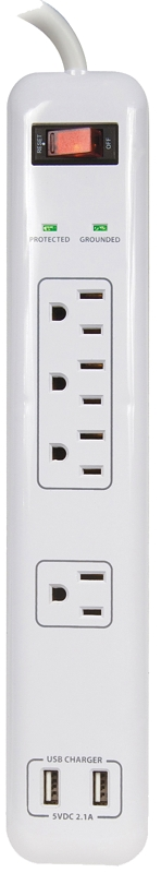 PowerZone OR505104 Surge Protector, 15 A, 4 Outlets, White - CBS BAHAMAS LTD
