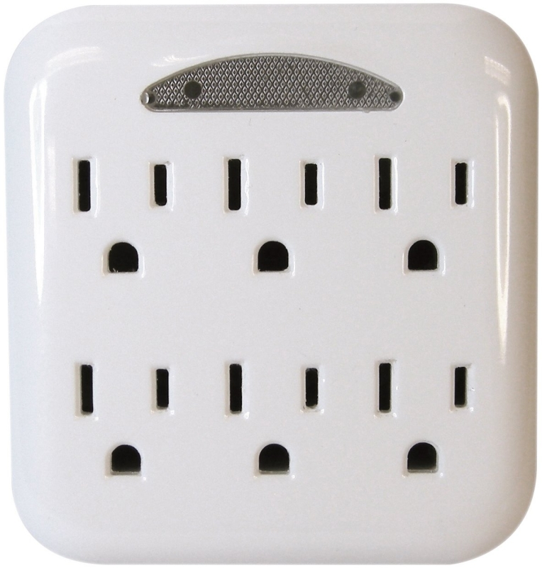 PowerZone Grounded Outlet Tap, 6 Outlet, White - CBS BAHAMAS LTD
