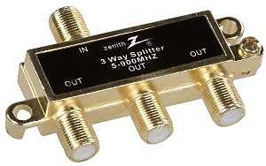 Zenith VS1001SP3W Coax Splitter, 900 MHz, Gold - CBS BAHAMAS LTD